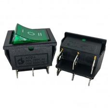 Перемикач KCD4 (16A 250V) зелений з підсвічуванням
